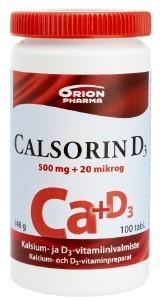 Calsorin 500 mg +D3 20 mikrog. 100 tabl.