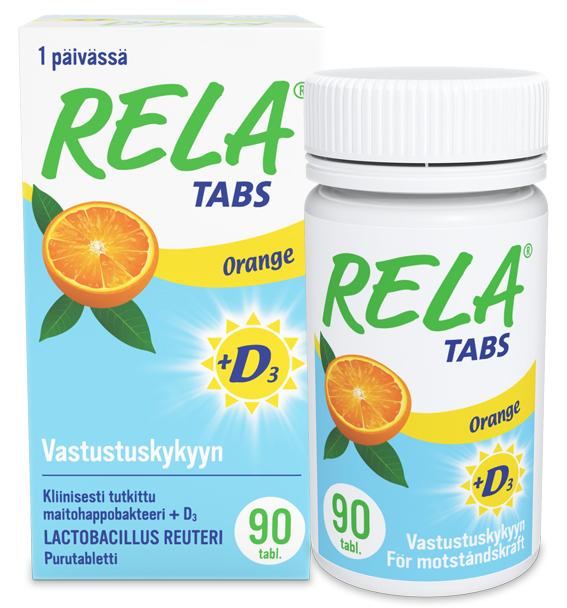 Rela Tabs maitohappobakteeri + D3-vitamiini, 90 purutabl.